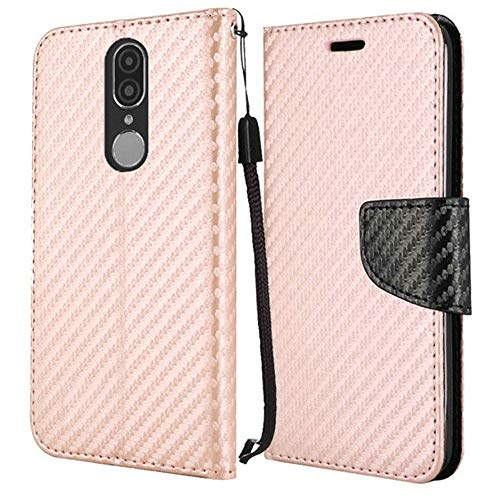 (Bemz Carbon Fiber Series Wallet Compatible with Coolpad Legacy (2019) Case with Magnetic Flip Cover, Card/Money Holder Slots, ID Window and Atom Cloth - Carbon Fiber Rose Gold)
