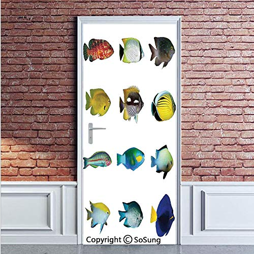 - Ocean Animal Decor Door Wall Mural Wallpaper Stickers,Egyptian Fish with Bannerfish Goldfish Parrotfish Wild Nature Red Sea Theme,Vinyl Removable 3D Decals 35.4x78.7/2 Pieces set,for Home Decor Multi