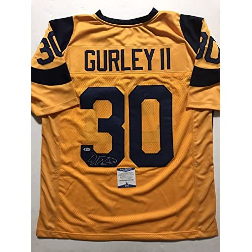 new styles aa03e b762d Autographed/Signed Todd Gurley II Los Angeles LA Rams Yellow ...