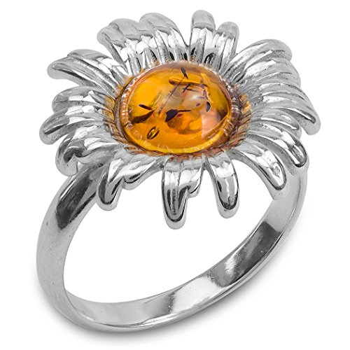 Amber Sterling Silver Flower Ring