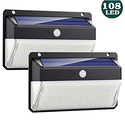 Solar Lights Outdoor, Feob Upgraded Super Bright 108 Led Motion Sensor Security Light with 270° Wide Angle, 3 Modes Wireless Waterproof Solar Wall Lights for Front Door, Garage, Deck, Porch(2 Pack)
