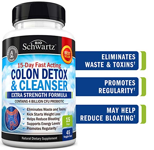 Colon Cleanser & Detox for Weight Loss. 15 Day Extra Strength Detox Cleanse with Probiotic for Constipation Relief. Pure Colon Detox Pills for Men & Women. Flush Toxins, Boost Energy. Safe & Effective (Advanced Detox Solutions Immediate Cleanser 2 Reviews)