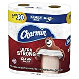 Charmin Ultra Strong Clean Touch Toilet Paper, 6 Family Mega Rolls = 30 Regular Rolls