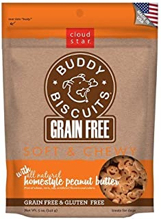 product image for Cloud Star Grain Free Soft and Chewy Buddy Biscuits Dog Treats, Homestyle Peanut Butter, 5-Ounce(2Pack)