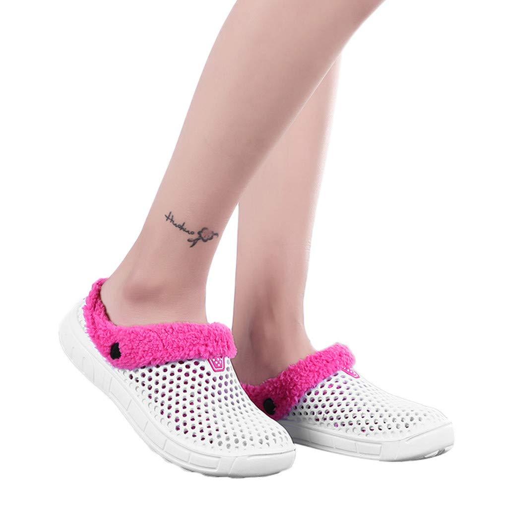 NRUTUP Couple Women Winter Home Slippers Keep Warm Non-slip Indoors Bedroom Floor Shoes(White,38)