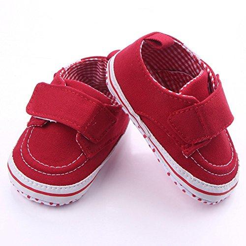 exiu newbron bebé niña niño lienzo zapatos de suela blanda primera Walkers calzado 0–12M rojo rosso Talla:9-12 meses rosso