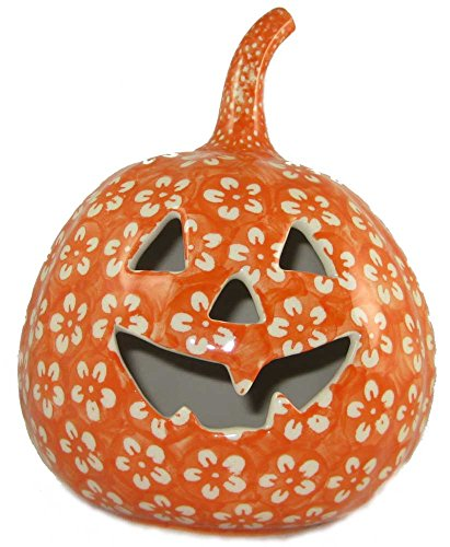 7-polish-pottery-stoneware-pumpkin-halloween-jack-o-lantern-j8or-orange-floral