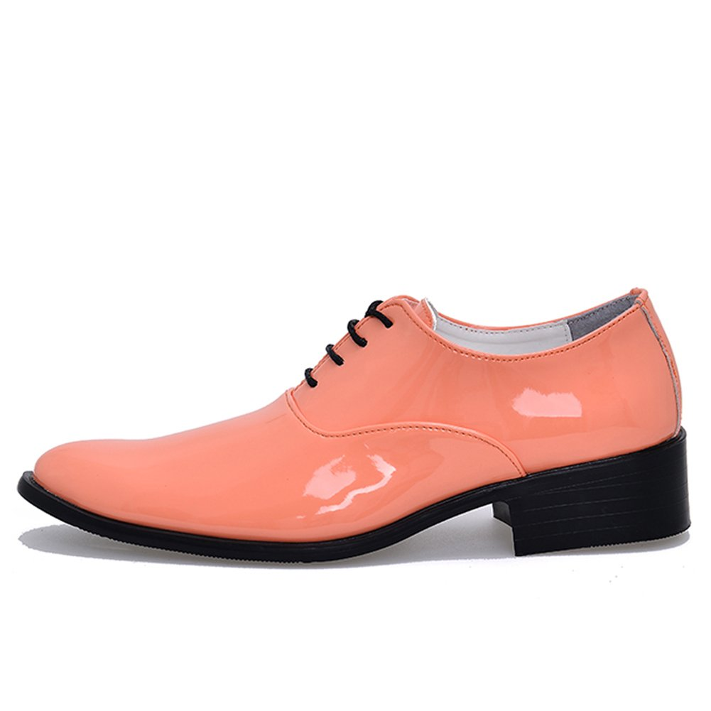 ABDVOOD Men's Shining Wedding Shoes Party Patent Leather Party Shoes Dress Oxfords by 7 D(M) US / 9.65''|Pink B074TG41FF 92a740