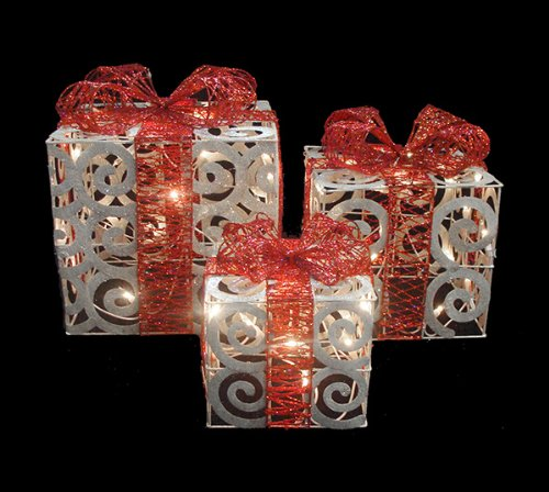 Outdoor lighted gift boxes christmas gifts for everyone of 3 sparkling white swirl gift boxes mozeypictures Gallery