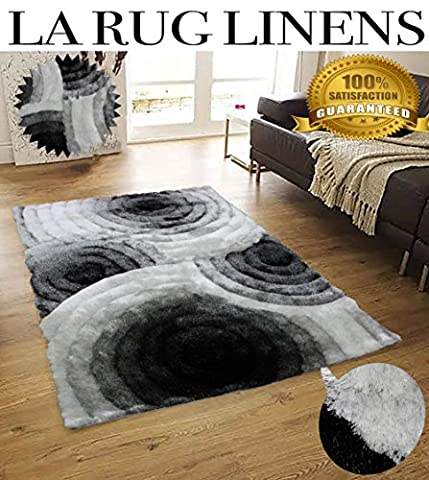 Shimmer Home Store Office Cozy Shag Collection 3D Shag Rug Contemporary Living & Bedroom Soft Shaggy Area Rug 5-Feet-by-7-Feet-Black White ( SAD 419 Black White (Big Circle White Fur Rug)