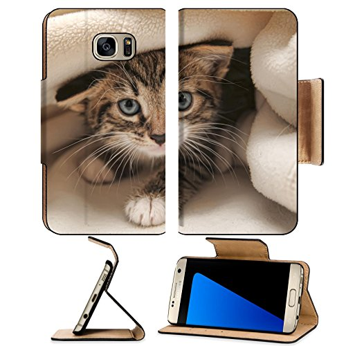 Liili Premium Samsung Galaxy S7 Edge Flip Pu Leather Wallet Case kitten peeping out from under the blanket Photo 11421935 Simple Snap Carrying