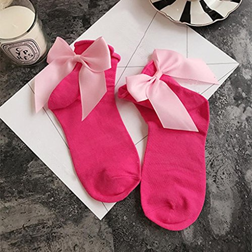 Inkach Women Girls Soft Cotton Ankle Length Socks with Bow E Ln23rb