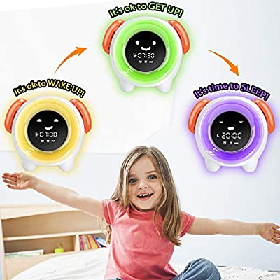 KUUOTE Kids Alarm Clock, Children Sleep Training Clock with 7 Changing Colors Teach Girls Boys Toddlers Time to Wake, Night Light Clock with 2400mAh Rechargeable Battery USB Charging