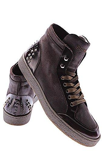 Borchie Leon Sneakers Ebano Scarpe Italy Made Barracuda Uomo Alte Vintage Pelle wY8n5gqx