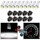 CCIYU 10x Car T5 5050 1SMD Wedge Xenon White LED w/ Black Twist Sockets 17 37 70 Instrument Panel Cluster Plug Lamp Dash Light Bulb