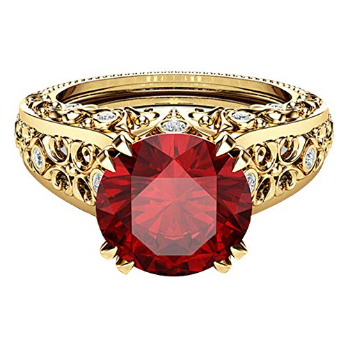 Haluoo Round Cubic Zirconia Engagement Rings Filled Gemstone Anniversary Promise Ring CZ Simulated Diamond Statement Cocktail 14k Gold Plated Jewelry (8, Red)