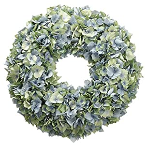 "18"" Hydrangea Silk Flower Hanging Wreath -Blue/Green 92"