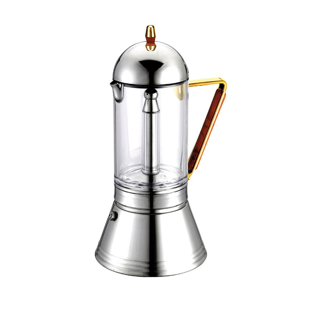 GAT Cafe Caffe Cristal Gold S/Steel Stove Top Italian Espresso Coffee Maker 4cup by GAT