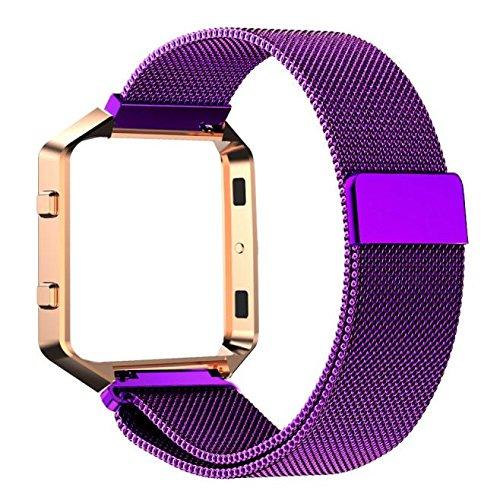Creazy ® Milanese磁気ステンレススチール時計バンド+メタルフレームfor Fitbit Blaze  パープル B01F2ZBAN8