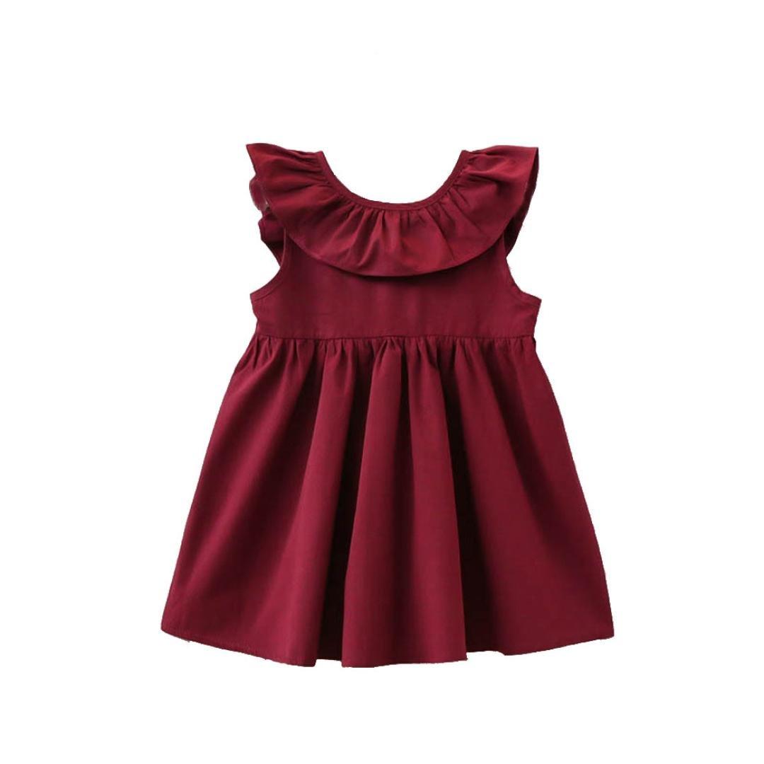 UOMOGO® Un Pezzo Cottone floreale principessa partito ragazze bambini vestito