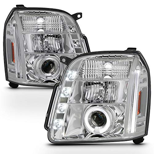 ACANII - For 2007-2013 GMC Yukon Denali XL SUV LED Halo Chrome Housing Projector Headlights Headlamps,Driver & Passenger