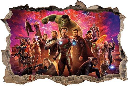 Avengers Infinity War Marvel Super Hero 3D Smashed Wall Sticker Decal Art J1265, Mini ()