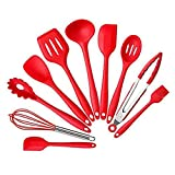 EDTara 10PCS Cooking Utensils Silicon Cooking Tool Set for Pots and Pans Non-Stick Pan Exquisite Kitchen Ware Red
