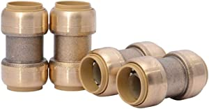 SharkBite U016LFA4 Straight Coupling Plumbing 3/4 Inch, PEX Fittings, Push-to-Connect, Coupler, Copper, CPVC, 4 count, Brass