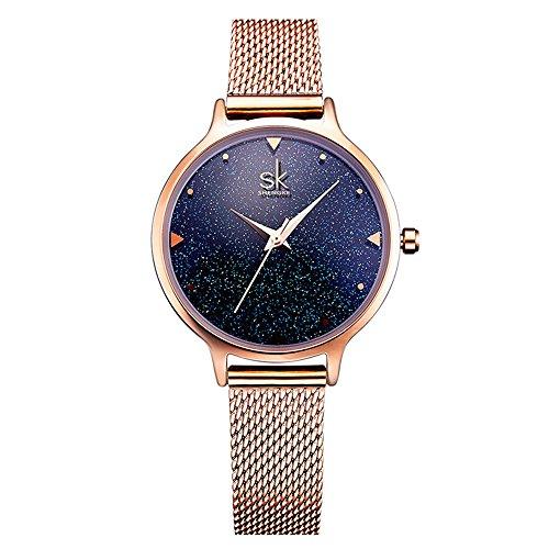 SK Watches Women Stainless Steel Band Ladies Quartz Wristwatches Women Clock Bracelet Watch (0063 Gold) (Bezel Steel Ladies Watch)