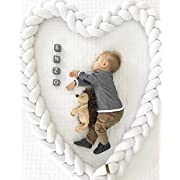 Q&F Infant pad braided crib bumper Handmade knot cushion pillow Cradle decor For baby girl and boy Newborn gift-White 150cm(59inch)