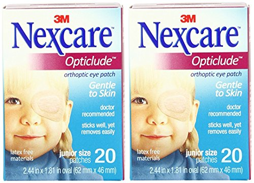 Nexcare Opticlude Orthoptic Eye Patches, Junior Size, 20-Count (Pack of 2) (Nexcare Hypoallergenic Eye Patch)