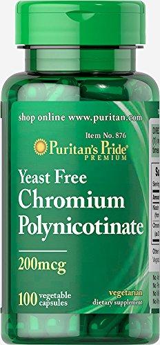 Puritan's Pride Chromium Polynicotinate 200 mcg Yeast Free-100 Vegi Caps ()