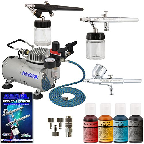 Master Cake - Master Airbrush Premium 3 Airbrush Cake Decorating Kit with G22, S68, E91 Master Airbrushes and TC-20 Air Compressor, 4 Chefmaster Airbrush Food Colors, .7 fl oz Bottles