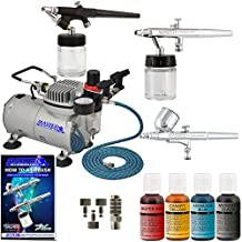 Premium 3 Airbrush Cake Decorating Kit with G22, S68, E91 Master Airbrushes and TC-20 Air Compressor, 4 Chefmaster Airbrush Food Colors