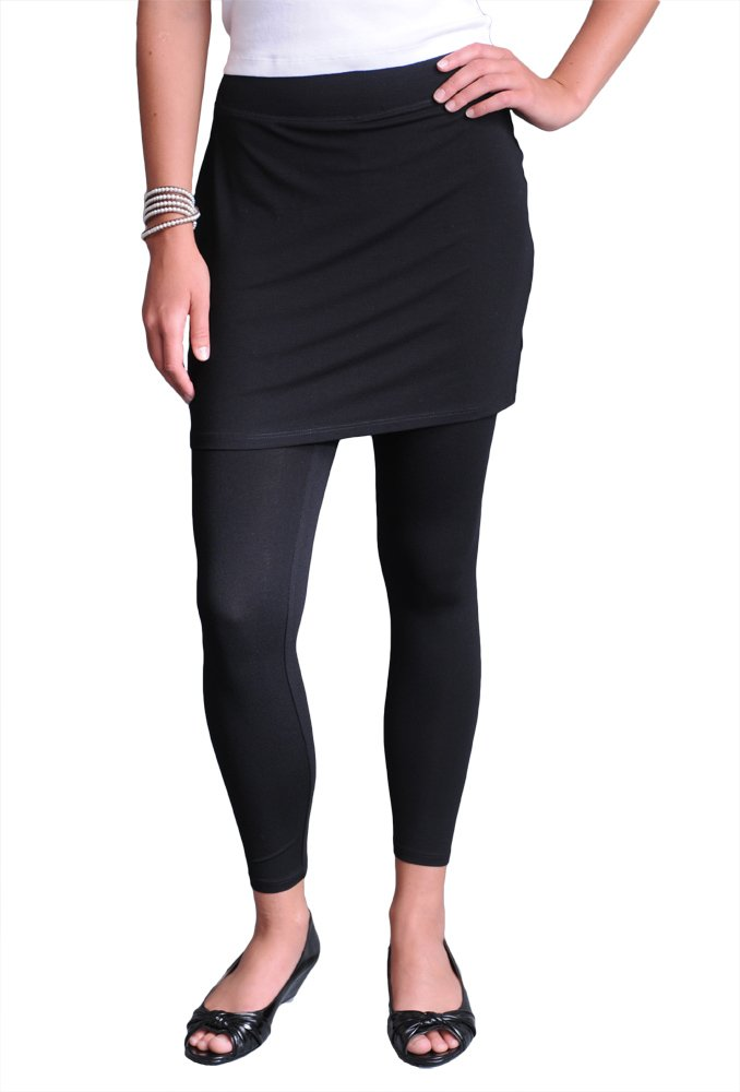Eileen Fisher Skirted Ankle Legging in Viscose Jerseyt Black S