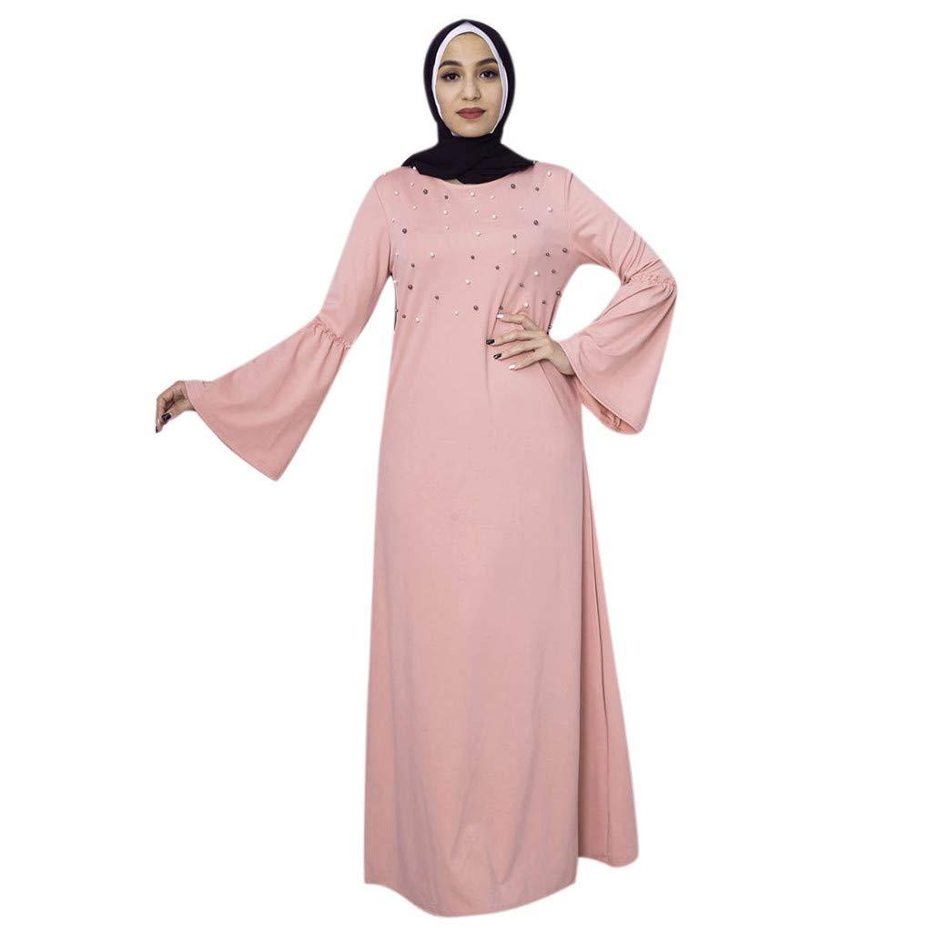 3df32726a9 Amazon.com  Women s Plus Size Long Sleeve Muslim Maxi Dress Abaya Kaftan  Ramadan Dress Bell Sleeve Knit Pearls Loose Jilbab S-2XL (XL