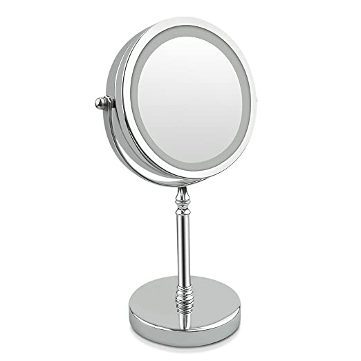 2 opinioni per Specchio Ingranditore, 10x 7 pollici LED Specchio di Trucco- Doppia Faccia,