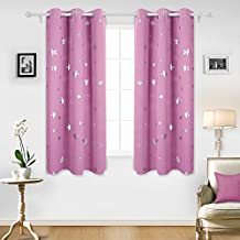 Deconovo Solid Thermal Insulated Blackout Curtains for Nursery with Silver Star Print 52 By 63 Inch Pink 1 Pair