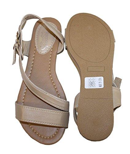 Kvinners Sommer Gladiator Sandaler Flats Fashionthongs T Stropper Damer Sko  Beige ...