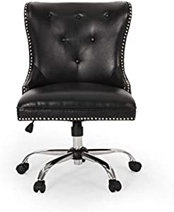 Christopher Knight Home Keith Contemporary Tufted Swivel Office Chair, Midnight Black + Chrome