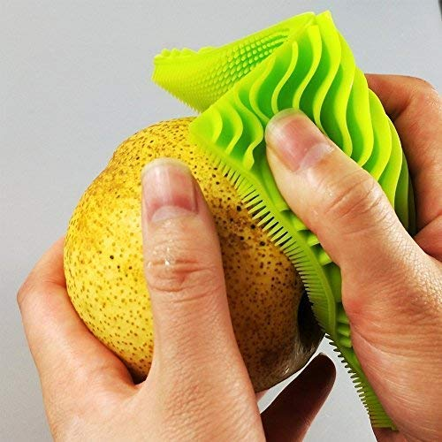 Antibacterial Silicone Sponges New Design Improved Not Stick Heat Resistant Dishwashing Brush Scrubber for Kitchen Supplies Multi Purpose Fruit Household Cleaning 2 square 1 oval Sponge (Pack of 3)
