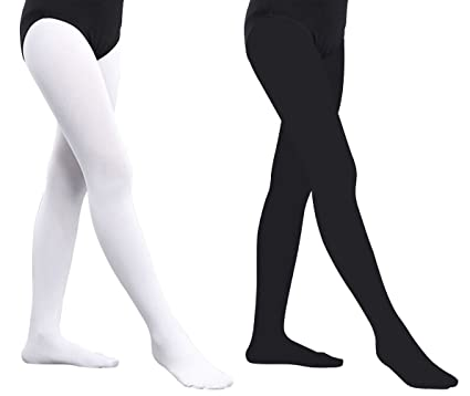 845e815bc2c Artiff Girls Ballet Footed Dance Tights 2 Pairs Kids Leggings Pants  Comfortable White Black