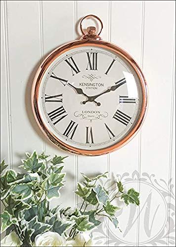 ZWFLJL Large 42cm Round Copper Roman Numeral Pocket Watch Kensington Station Wall - Watch Numeral Roman Pocket White
