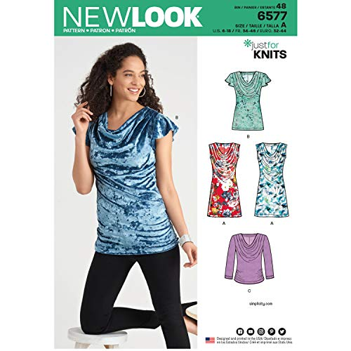 NEW LOOK Sewing Pattern 6577 - Misses' Knit Tops, A(6-8-10-12-14-16-18) (Tops Knit Look New Misses)