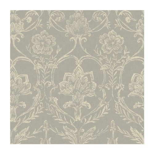 York Wallcoverings KC1820SMP French Dressing Sheer Fabric Damask 8-Inch x 10-Inch Wallpaper Memo Sample, Silver/Ivory