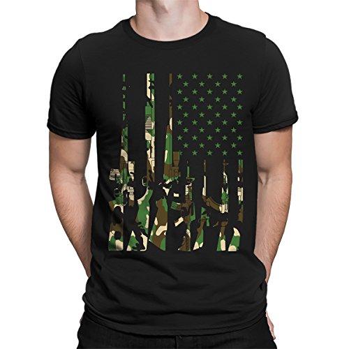 Camo USA Gun Flag Men's T-Shirt, SpiritForged Apparel, Black - Camoflauge Black