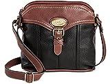 Bolo Women's Faux Leather Crossbody Handbag w Back/Interior Compartments and Zipper Closure