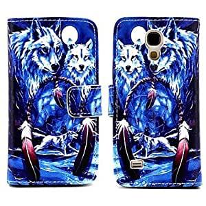 LHY Arctic Wolf Pattern PU Leather Full Body Case with Stand for Samsung Galaxy S4 Mini I9190