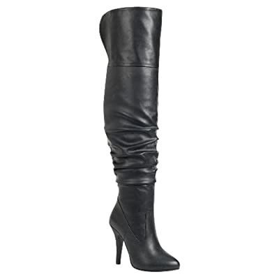 Forever Link Womens Focus-33 Black Vegan Leather Over The Knee Fashion Boots (6.5) | Over-the-Knee