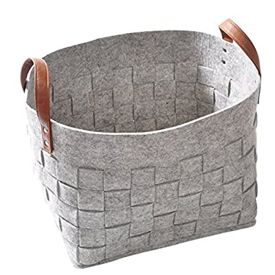 lightning moment Felt Storage Baskets with Handles Soft Durable Toy Storage Nursery Bins Home Decorations - ❤ MATERIAL: Our newspaper bin is made of high quality felt with leather handles, which is durable, lightweight, wear-resistant, comfortable and practical. ❤ Size: The size of our felt box is 15''*11 ''*12.6''. It offers spacious storage area and perfects for storing which doesn't take too much room.And the convenient handles make it easy to transport or move when needed. ❤EASY TO CARRY:The lightweight felt storage bins with reinforced leather handles allow you to carry your load easier. Help your kids clean up their act with our decorative storage bins. Fit for kids, unisex, baby infant, boys, girls, preschool kids, toddlers, children, at any age. - living-room-decor, living-room, baskets-storage - 5104l4%2BqlKL. SS400  -